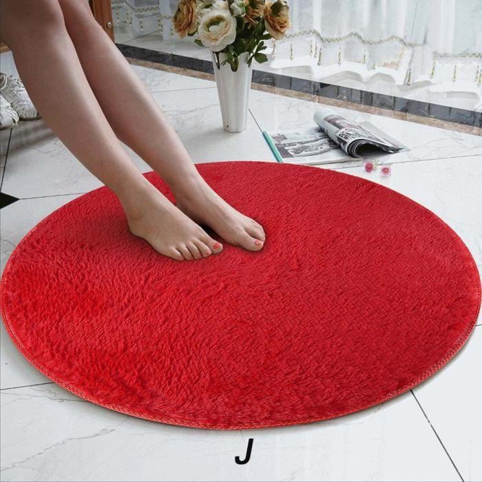 TAPIS Jeffrey®80cm doux corail velours tapis rond anti-d