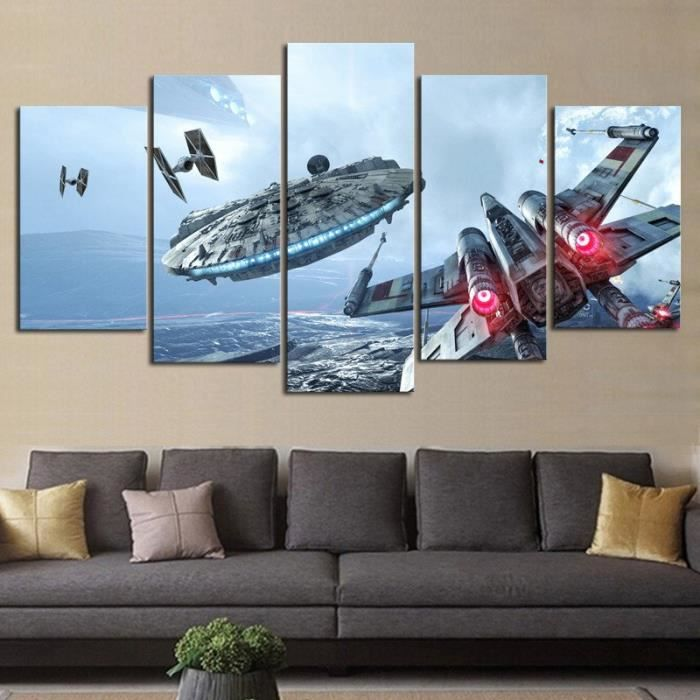 imprim 5 pieces canvas millenium falcon x wing star wars. Black Bedroom Furniture Sets. Home Design Ideas
