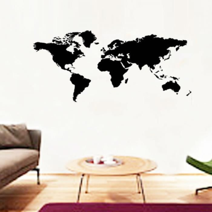 200 x 90 cm grande carte du monde stickers muraux bureau. Black Bedroom Furniture Sets. Home Design Ideas