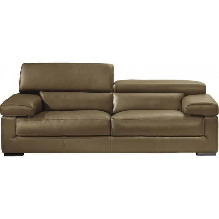 Canap cuir 2 places appui t te r glable aksel taupe - Canape cuir 7 places ...