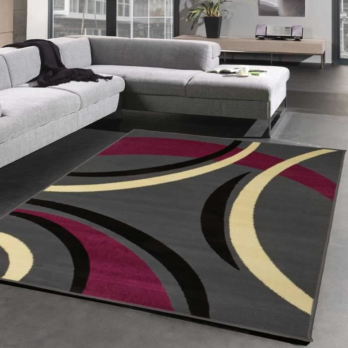 tapis moderne pour salon platino violet 133x200 par. Black Bedroom Furniture Sets. Home Design Ideas