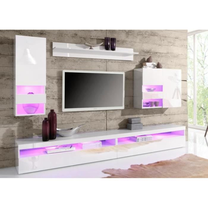 ensemble meuble tv laqu blanc brillant et blanc mat design trani avec achat vente meuble tv. Black Bedroom Furniture Sets. Home Design Ideas