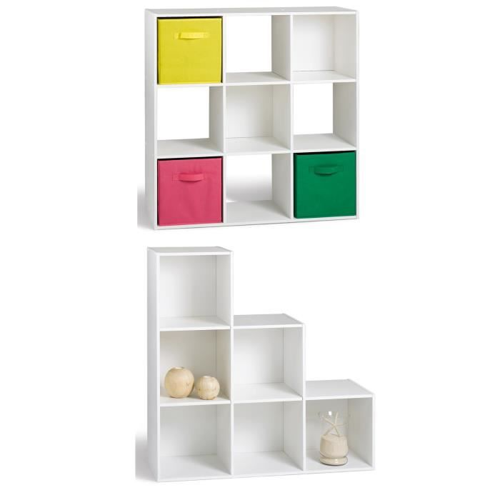 Compo cube 9 cases meuble escalier blanc achat vente for Meuble 6 cases blanc