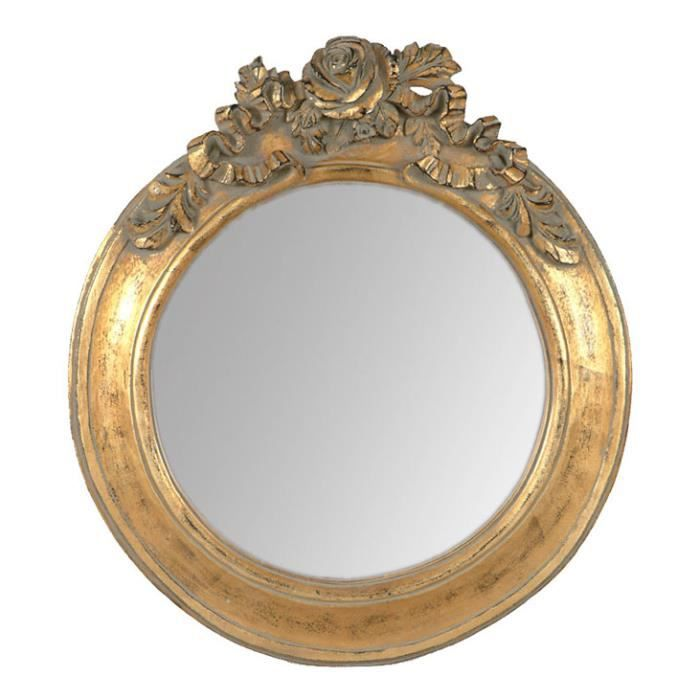 miroir rond dor en r sine avec moulure roses ambre petit mod le achat vente miroir. Black Bedroom Furniture Sets. Home Design Ideas