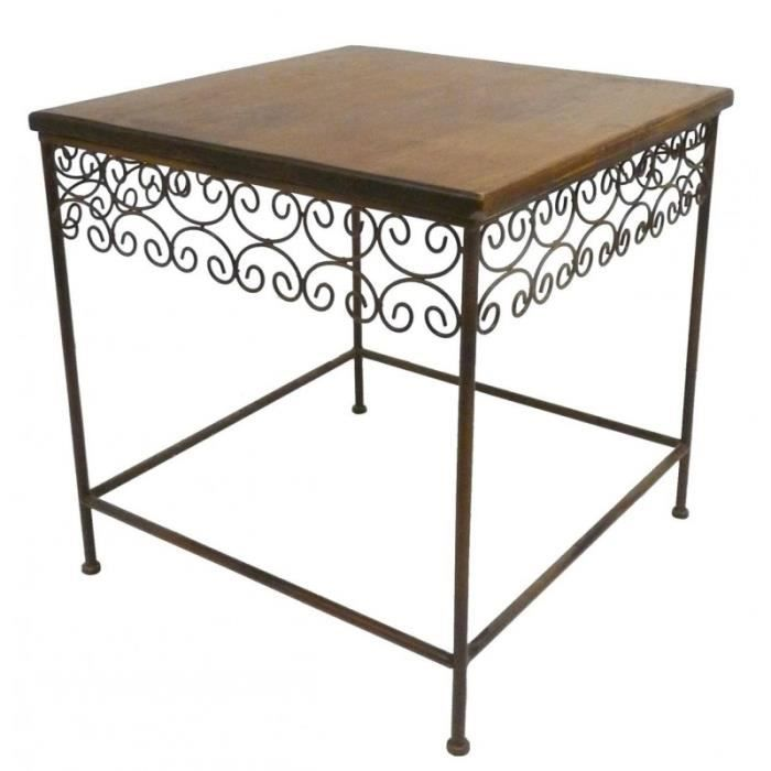 table basse console d 39 appoint en fer et bois desserte bout de canap marron 53x53x54cm achat. Black Bedroom Furniture Sets. Home Design Ideas