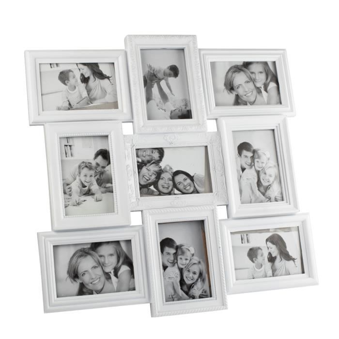 cadre photo p le m le 9 vues blanc achat vente cadre photo cdiscount. Black Bedroom Furniture Sets. Home Design Ideas