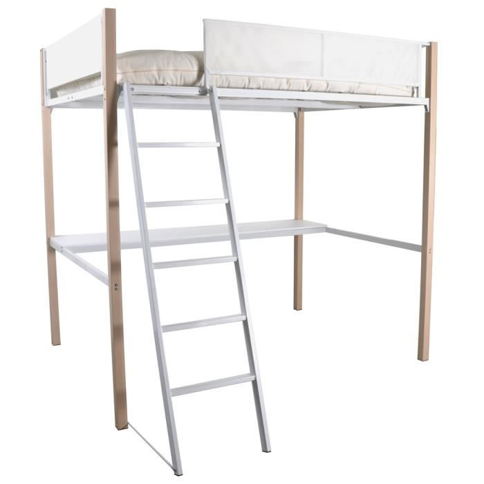 boost lit mezzanine haut de gamme 140x190 cm m tal blanc. Black Bedroom Furniture Sets. Home Design Ideas