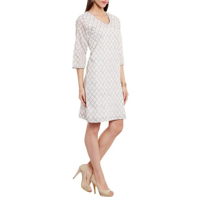 Womens Cocktail Dress Printed V-neck Line Soft And Comfortable Cotton ,cream JVOQU Taille-38