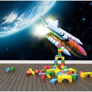 PAPIER PEINT espace rocket peint  papier peint enfants chambre