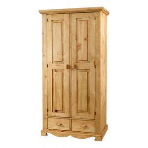 ARMOIRE DE CHAMBRE Armoire rustique en pin 2 portes + 2 tiroirs