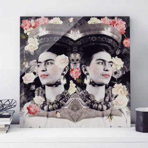 CADRE PHOTO 50x50 cm verre image - frida kahlo - mur de fleur