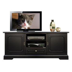 MEUBLE TV Banc Tv noir en bois avec 2 portes