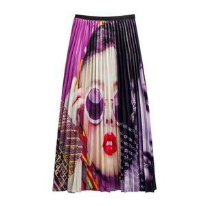 JUPE Jupes plissées Graffiti Femmes Imprimé taille élas