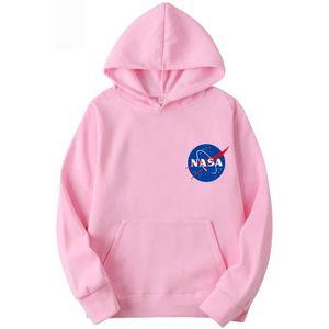 SWEATSHIRT Sweatshirt E439S NASA Logo Hoodie Universe Back Pr