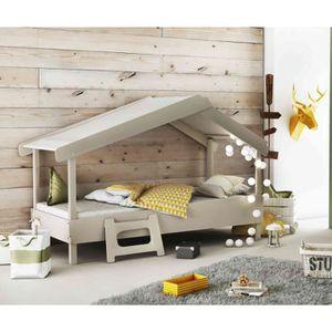 STRUCTURE DE LIT Lit enfant cabane en bois gris 90x200