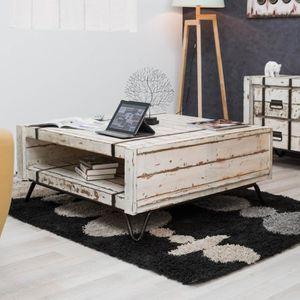 TABLE BASSE Table de salon rectangulaire en mindi LOFT Blanc 1