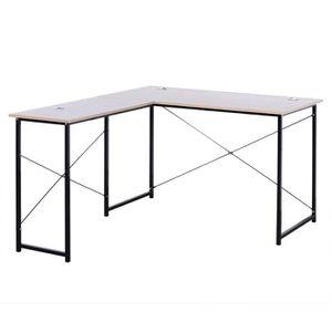 BUREAU  WOLTU Table de bureau en bois et acier,Bureau d'or