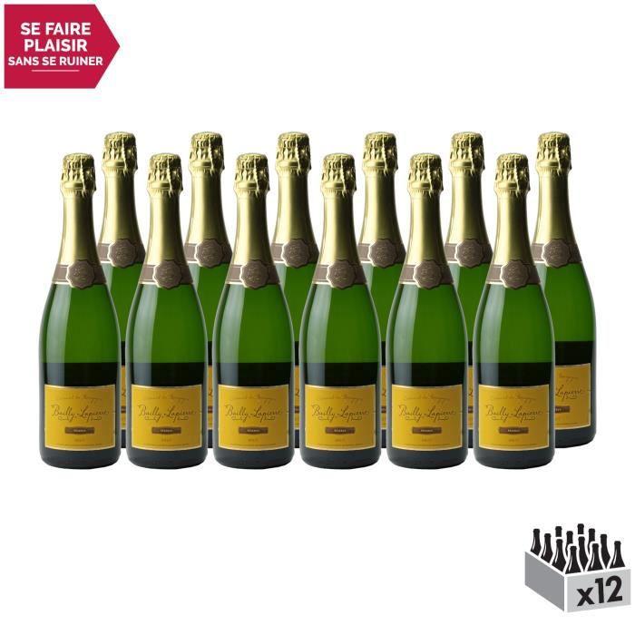 Crémant de Bourgogne Brut Réserve Blanc . Lot de 12x75cl . Les Caves Bailly Lapierre . Vin effervescent AOC Blanc de Bourgogne .