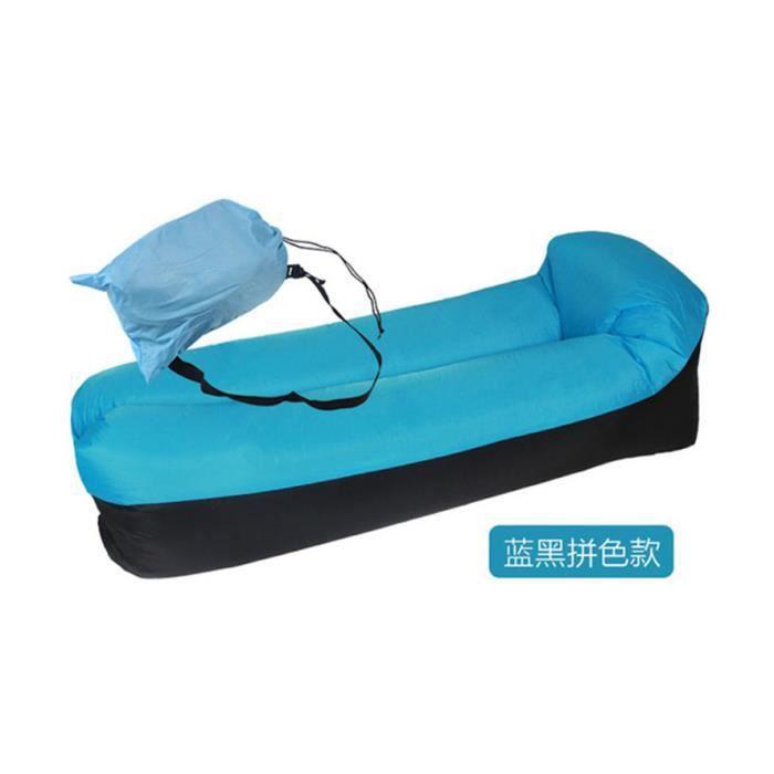 (bleu)Air gonflable rapide canapé-lit extérieur meubles de jardin Camping imperméable paresseux sacs de couchage