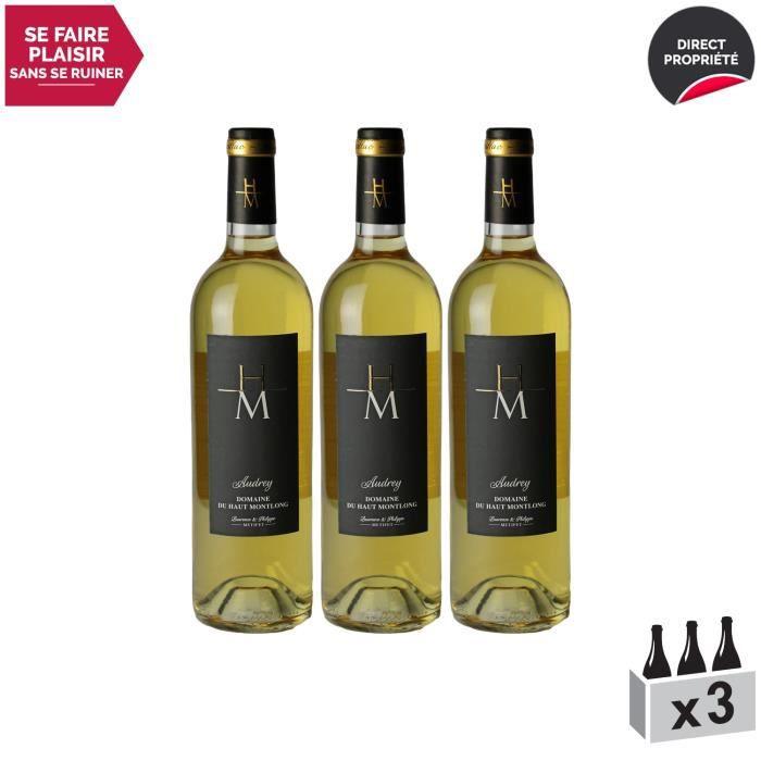 Monbazillac Audrey Blanc 2016 - Lot de 3x75cl - Domaine du Haut-Montlong - Vin Doux AOC Blanc de Bordeaux - Cépages Sémillon,