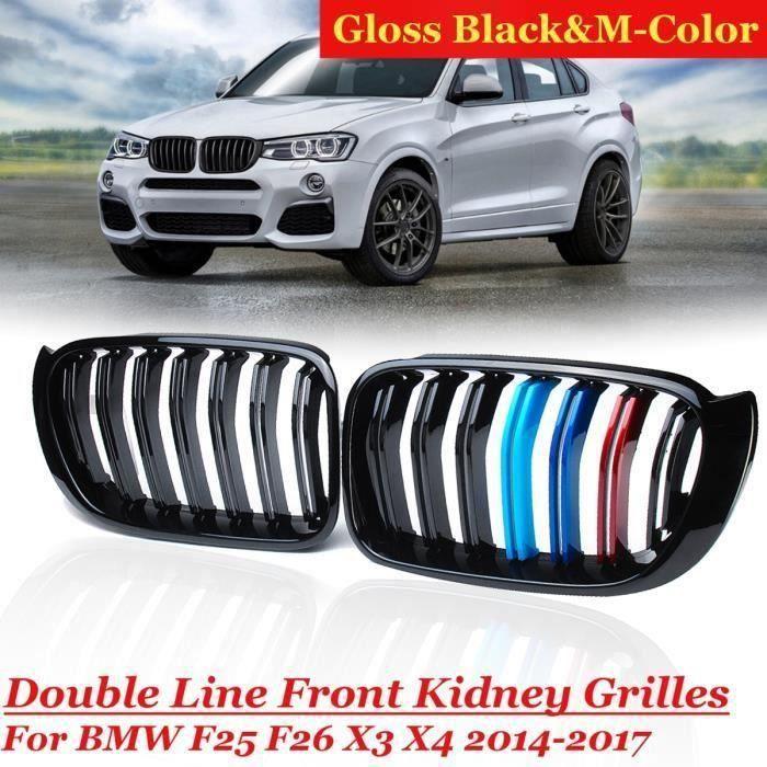 NEUFU Paire Grilles Tricolores Noir brillant pour BMW X3 X4 F25 F26 2014-17 M Style