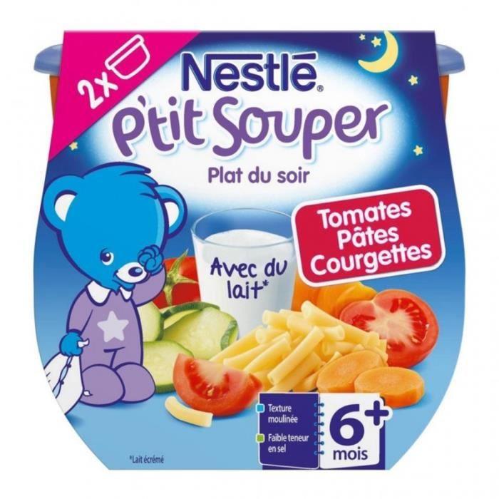 Nestlé P'tit Souper Plat du Soir Tomates Pâtes Courgettes (+6 mois) par 2 pots de 200g (lot de 6 soi