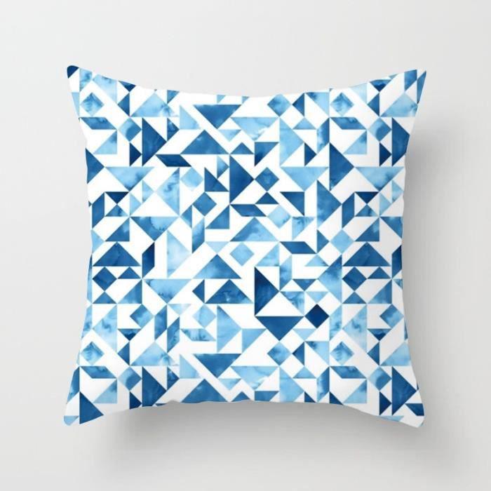 Housse de coussin,Nouveau Design abstrait bleu créatif imprimé coussin couvre 45x45cm maison-bureau canapé - Type 6-450mm*450mm