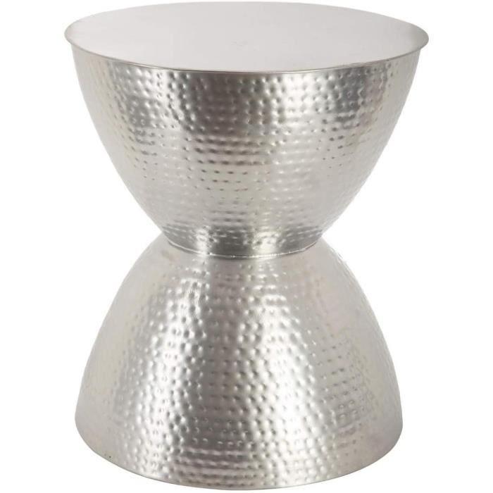 Atmosphera Table Basse Guéridon en métal martelé - Tendance & Design - Coloris Gris Argent