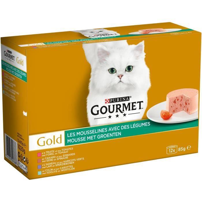 GOURMET Gold Les Mousselines avec des légumes - Pour chat adulte - 12 x 85 g