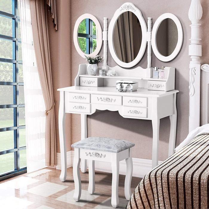 Coiffeuse avec 7 Tiroirs et 3 Miroirs Pivotants, Table de Maquillage en Bois, 1 Tabouret, Design Elégant, Style Romantique[228]