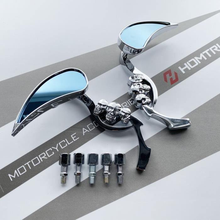 Rétroviseurs et miroirs,Chrome larme crâne rétroviseur pour Harley Chopper Bobber Cruiser Softail - Type chrome