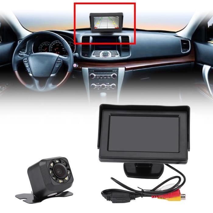 4.3- LCD Moniteur + Caméra de recul Sans Fil Infrarouge Vision Nocturne Sauvegarde aide à la conduite recul pour Voiture Camio-HB065