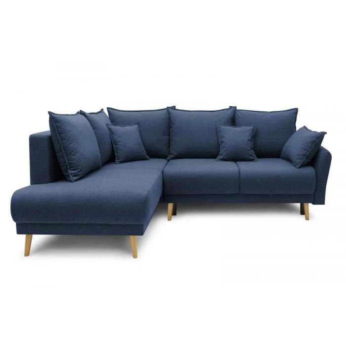 BOBOCHIC CANAPÉ D'ANGLE L CONVERTIBLE AVEC COFFRE MIA Bleu Marine Angle gauche Tissu cashmere Convertible Coffre de rangement