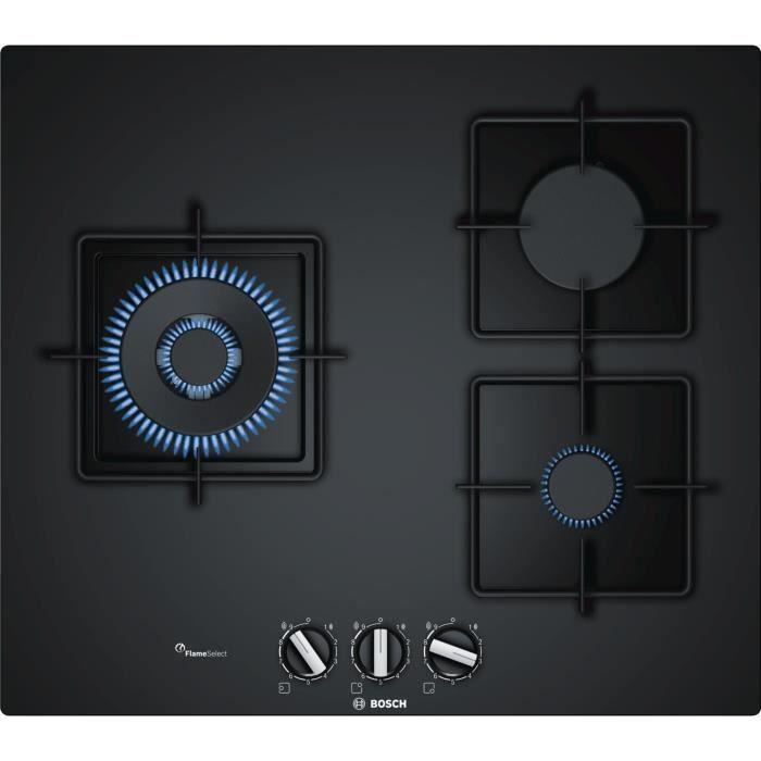 BOSCH PPC6A6B10 Plaque de cuisson gaz - 3 foyers - 8000 W - L 59 x P 52 cm - Revêtement verre - Noir