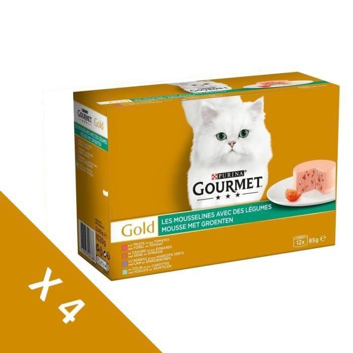[Lot de 4 / 12 x 85g] GOURMET Gold Les Mousselines légumes - Chat adulte - 4 boîtes de 12 x 85g