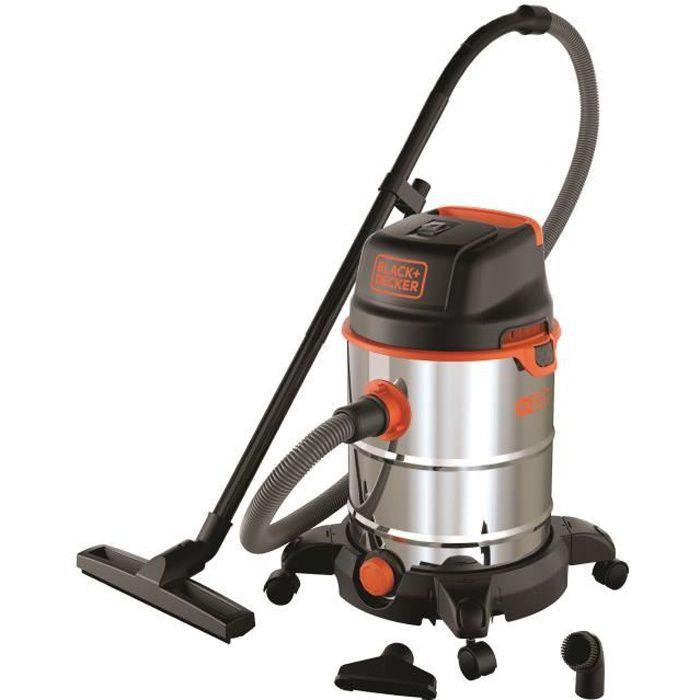 BLACK & DECKER Aspirateur eau et poussière sur roues 1600 W cuve en inox 30 L