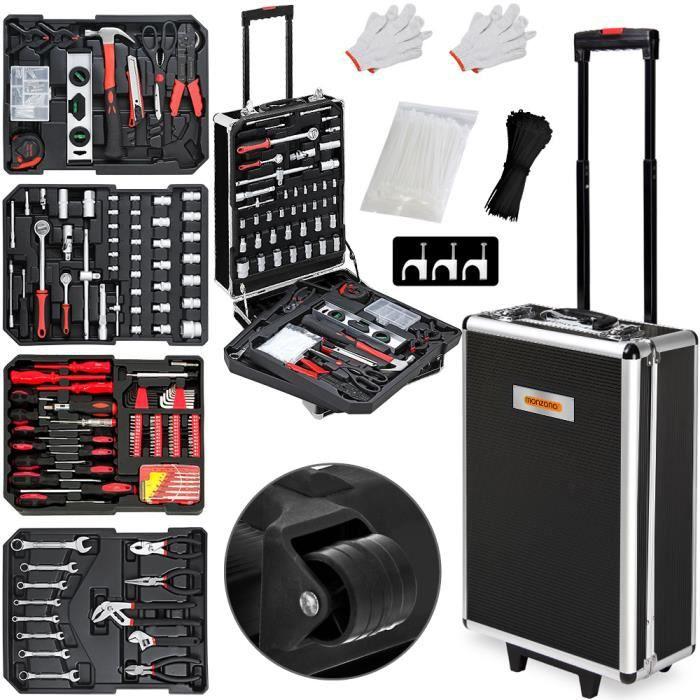Monzana - Valise à outils • 899 pièces - Aluminium • poignée télescopique • roulante - Boite, malette, accessoires, nombreux outils