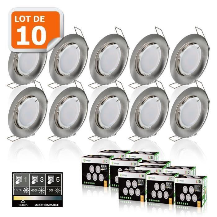 10 SPOTS LED DIMMABLE SANS VARIATEUR 7W eq.56w BLANC CHAUD FINITION ALU BROSSE