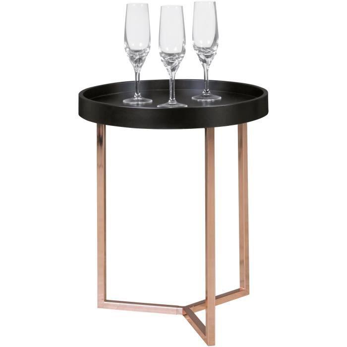 FineBuy Table Basse Bois Métal ø 40cm Table d'appoint Table de salon Rond Design [Noir]