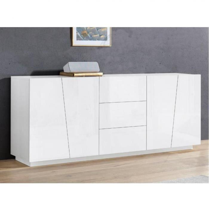 Buffet design VEGA XL 220 cm Finition blanc laqué brillant 3 tiroirs 4 portes blanc Inside75