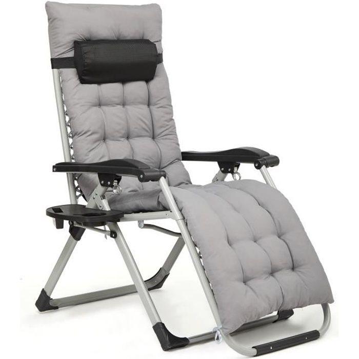 Chaise de Jardin Pliable Chaise Longue Inclinable avec Coussin Gris, Support de Gobelet Amovible, Appui-Tête, Gris-IntimaTe WM Heart