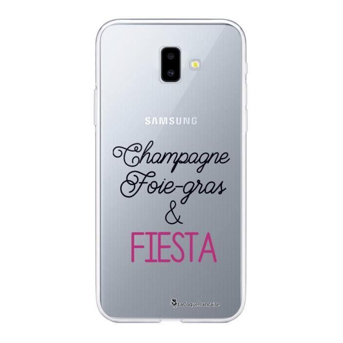 Coque Samsung Galaxy J6 PLUS 2018 souple transparente Champagne Foie gras et Fiesta Motif Ecriture Tendance La Coque Francaise