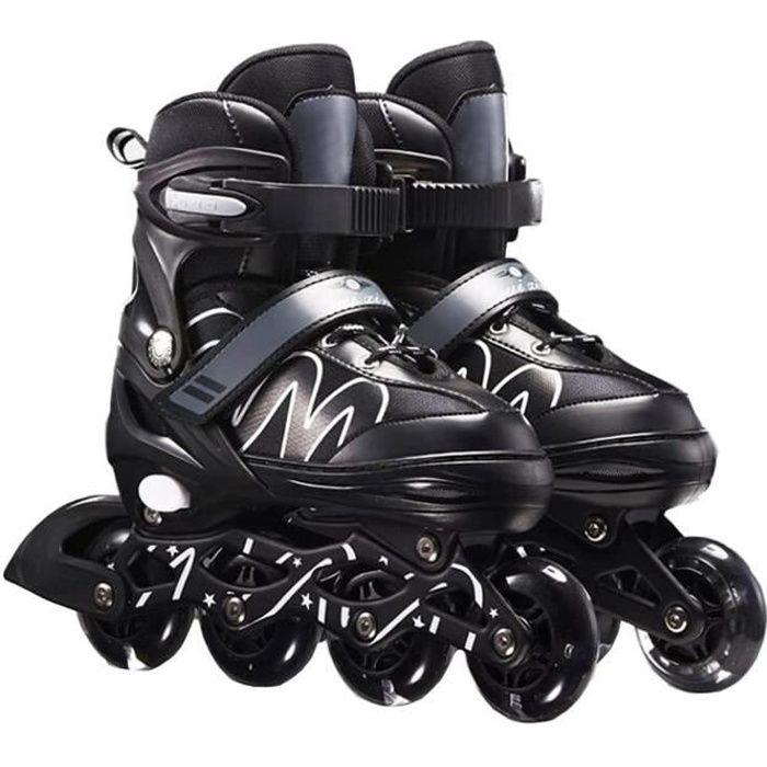 Roller in line patin a roulette roller quad ajustable respirant confortable mode sûr Jeux d'extérieurs enfent adulte-Noir