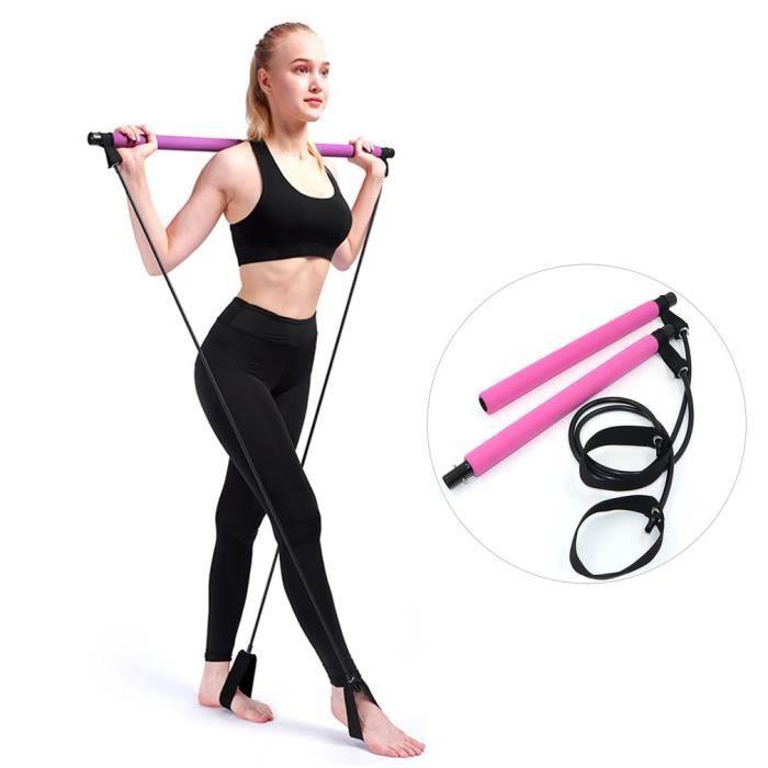 Pilates Bar Kit - Barre de Musculation Muscle Bande de résistance Gym à Domicile Pilates Body Workout - rose