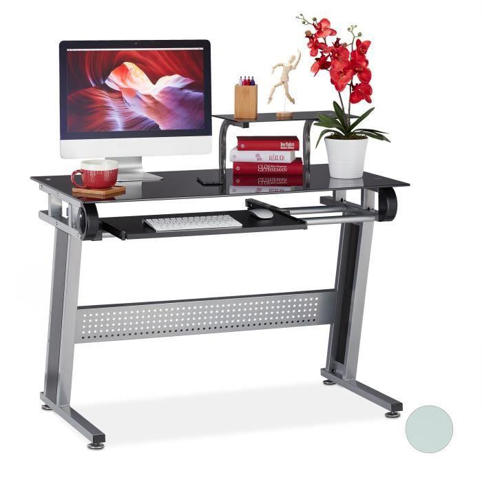 Relaxdays Bureau pour ordinateur, en verre, plateau pour clavier et étagère, HxlxP 94x110x63cm, différentes couleurs - 4052025932688