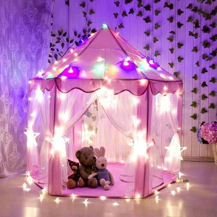 TEMPSA Tente Princesse Enfant Tente De Jeu Pliable Avec Lumière LED