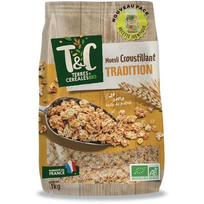 LOT DE 3 - TERRES ET CEREALES : Muesli croustillant bio Tradition 1 kg
