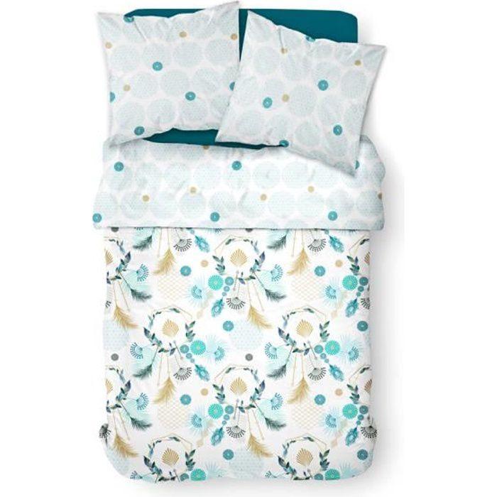 TODAY Parure de lit 2 personnes 220X240 Coton imprime vert Floral SUNSHINE TODAY