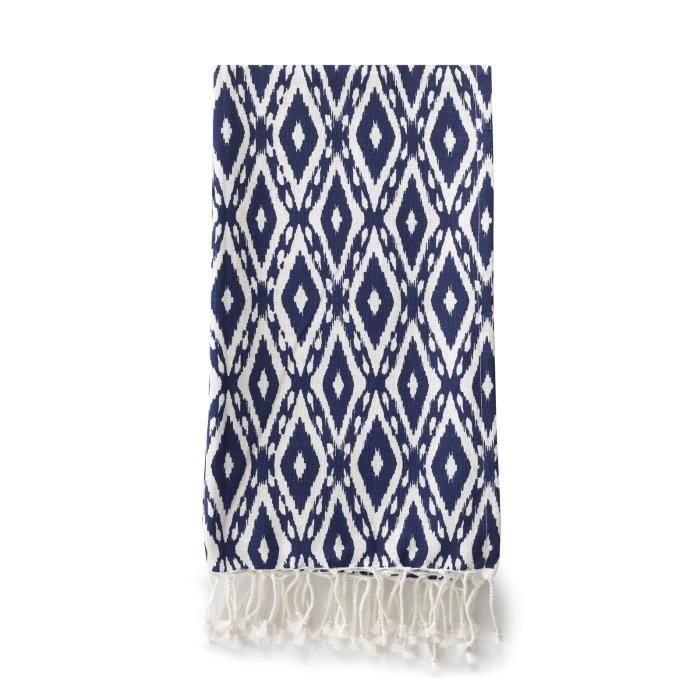 Fouta à franges 100-190 SERIFOS 100% coton motif bleu et blanc