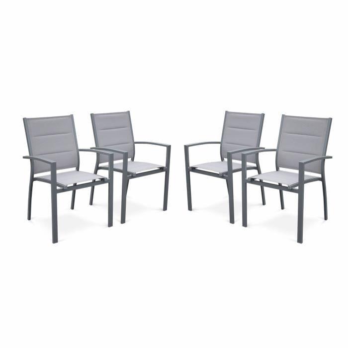 Ensemble table et chaise de jardin Lot de 4 fauteuils Chicago / Philadelphie- Alumini
